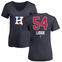 Women's Brad Lidge Houston Astros Name and Number Banner Wave V-Neck T-Shirt - Navy